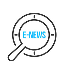 e-news word magnifying glass vector image