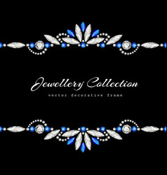Elegant jewellery frame with diamond ornament vector