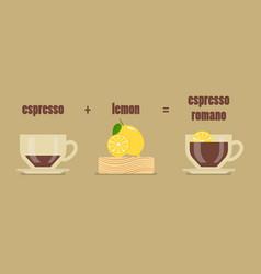 Espresso romano coffee recipe vector
