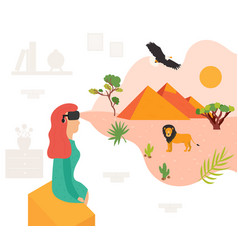 excited girl in virtual reality 3d travelling vector image
