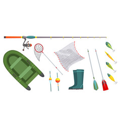fishing equipment outdoor vacation vector image