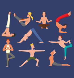 Fitness group yoga man doing cobra pose in vector