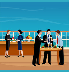 flat colored business lunch people vector image
