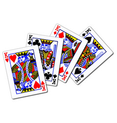 Four kings playing cards vector