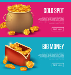 Gold spot and big money posters vector