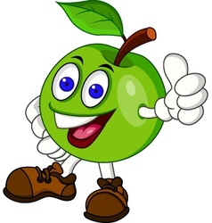 Green appple cartoon characer vector image