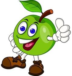 Green appple cartoon characer vector