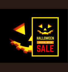 halloween sale with pumpkin face vector image