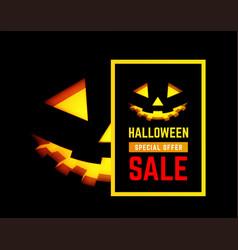 halloween sale with pumpkin face vector image