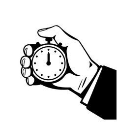 Hand with stopwatch black and white vector