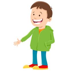 Happy boy cartoon character in sweatshirt vector