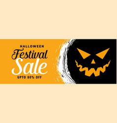 Happy halloween sale banner with scary face vector