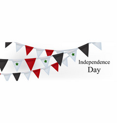 Happy syria independence day banner with realistic vector