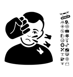 Head Strike Icon With Air Drone Tools Bonus vector