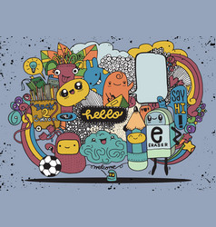 Hipster hand drawn crazy doodle monster group vector