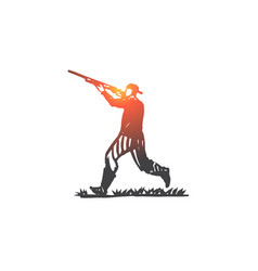 hunter rifle shooting weapon man concept hand vector image