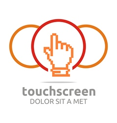 icon touch screen app hand circle symbol vector image