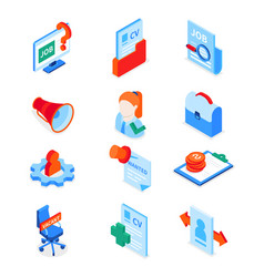 job search - modern colorful isometric icons set vector image