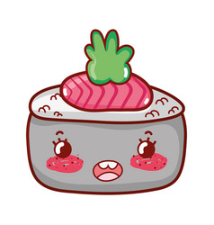 Kawaii sushi with wasabi cartoon sushi and rolls vector