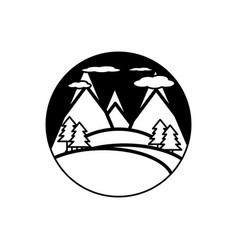 landscape forest mountains outline vector image