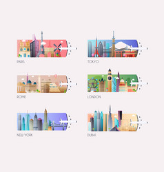 Landscape template global travel destinations vector