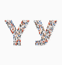 Large group people in letter y form vector