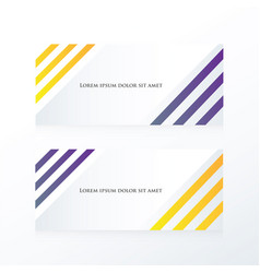 Line abstract banner purple yellow vector