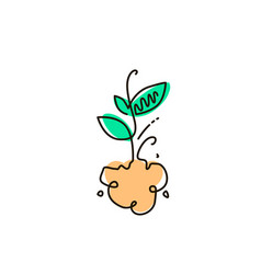 Line icon sprout gardening vector