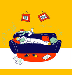 little boy character painting on sleeping father vector image