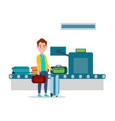 Luggage control in airport vector
