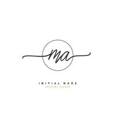 m a ma beauty initial logo handwriting logo vector image