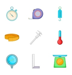 Measurement icons set cartoon style vector