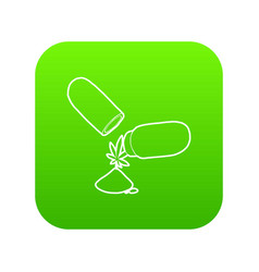 medical marijuana pill icon green vector image