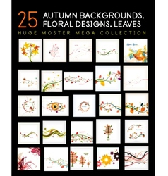 Mega collection of autumn backgrounds vector image