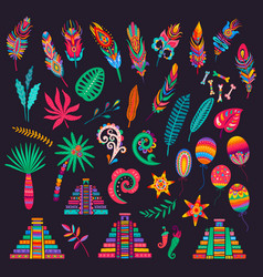 Mexican feathers bones palms pyramids peppers vector