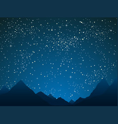 Mountains on starry night sky outdoor nature vector