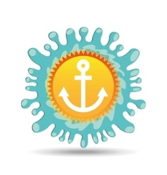 nautical anchor summer vacation sun splashes label vector image