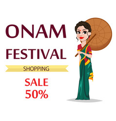 Onam celebration indian woman vector