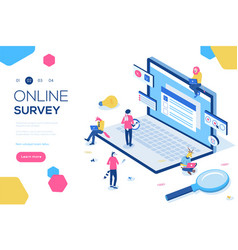 Online survey concept with characters can use for vector