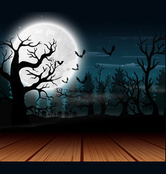 Outdoor view with the full moon background in hall vector