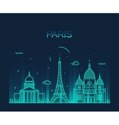 Paris City skyline Trendy line art vector