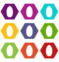Pecan nut icon set color hexahedron vector