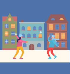 people playing snowball fight in evening city vector image
