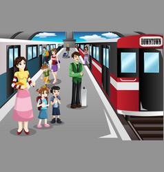 People waiting in a train station vector