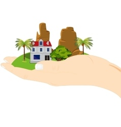 Piece of the land in hand vector