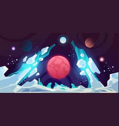 Planet landscape alien futuristic science fiction vector