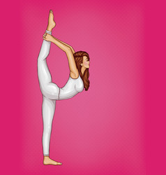 pop art girl doing gymnastics or yoga vector image