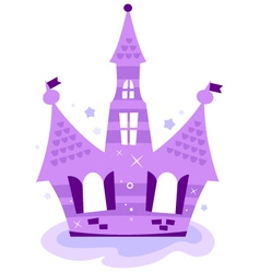 Princess sky Castle isolated on white - purple vector image
