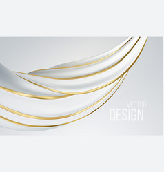 realistic white and gold swirl shape isolated on vector image