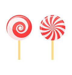 red lollipops candy on stick set vector image